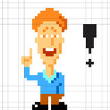 Pixel dude gets an idea Stock Images