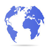 Pixel earth globe  8 bit globe Stock Photo