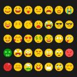 Pixel emoticon set royalty free illustration