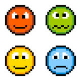 Pixel Emotion Icons - Angry, Sick, Happy, Sad Isolated on White. 4 emotions depicted in pixel format: anger, sickness, happiness and sadness. Created in Adobe vector illustration