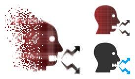Pixel endommagé Person Shout Icon fâché tramé illustration de vecteur