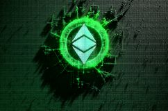 Pixel Ethereum Classic Concept. A microscopic closeup concept of small cubes in a random layout that build up to form the ethereum classic symbol illuminated Royalty Free Stock Photos
