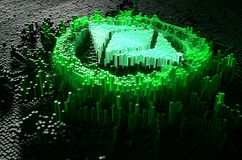 Pixel Ethereum Classic Concept. A microscopic closeup concept of small cubes in a random layout that build up to form the ethereum classic symbol illuminated Stock Images