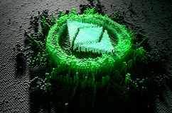 Pixel Ethereum Classic Concept. A microscopic closeup concept of small cubes in a random layout that build up to form the ethereum classic symbol illuminated Stock Photography