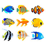 Pixel exotic fish for games icons vector set Stock Photography