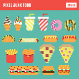 Pixel fast food set, isolated vector icon set. In retro game style Stock Photo