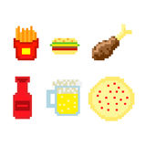Pixel fast food vector. Different Pixel fast food vector stock illustration