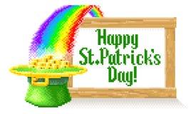 Pixel feliz Art Sign do dia do St Patricks ilustração royalty free