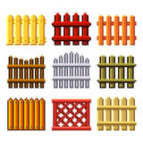 Pixel fences for games icons vector set Stock Image
