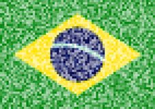Pixel Flag of Brazil. Vector illustration for your design Stock Illustration
