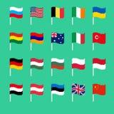 Pixel flag set. Pixelated banner National. political bit icon. V Stock Photos
