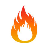 Pixel flame fire. Isolated on white Royalty Free Stock Images