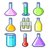 Pixel flasks and test tubes icons vector set Royalty Free Stock Photography