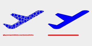 Pixelated and Flat Vector Airplane Departure Icon. Pixel and flat airplane departure icons. Vector mosaic of airplane departure formed of randomized rectangle vector illustration
