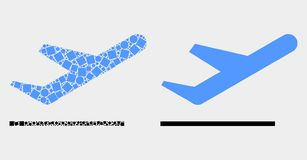 Dot and Flat Vector Airplane Takeoff Icon. Pixel and flat airplane takeoff icons. Vector mosaic of airplane takeoff constructed of randomized rectangle elements vector illustration