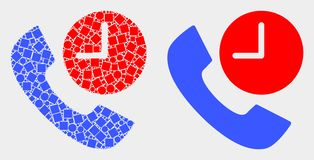 Dot and Flat Vector Phone Call Time Icon. Pixel and flat phone call time icons. Vector mosaic of phone call time formed of random dots and spheric dots stock illustration