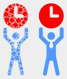 Dot and Flat Vector Time Manager Icon. Pixel and flat time manager icons. Vector mosaic of time manager designed of irregular rectangle elements and circle stock illustration