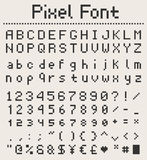 Pixel font alphabet, letters and numbers, retro videgame type Stock Photography