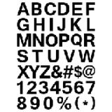 Pixel Font - Alphabets and numerals characters in Stock Photo