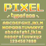 Pixel font, 8 bit typeface for retro games design Royalty Free Stock Images