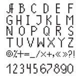 Pixel font. Black pixel font on a white background Royalty Free Stock Photos