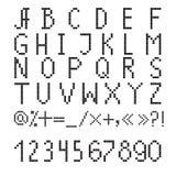 Pixel font. Black pixel font on a white background Stock Photos