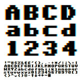 Pixel font. Pixelate old game style font with chromatic blue-yellow aberrations effect. Vector typeset Stock Image