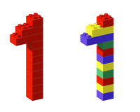 Pixel font toy block one Stock Image