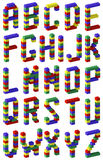 Pixel font toy block style. Pixel font toy color block style Stock Images