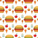 Pixel art food computer design seamless pattern background vector illustration restaurant pixelated element fast food. Pixel food icons fruit sweet seamless stock illustration