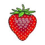 Pixel fresh strawberry fruit detailed illustration isolated vector. Pixel art strawberry fruit detailed illustration isolated vector vector illustration