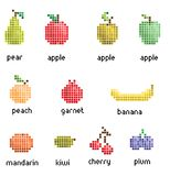 Pixel fruit collection vector illustration