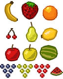 Pixel fruit icon set stock illustration