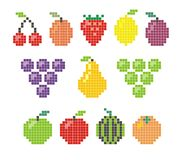 Pixel fruit icons. Vector pixel fruit icons isolated on white background Royalty Free Stock Images