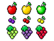 Pixel fruit set. Pixel isolated fruit set.  Colorful Apple, Cherry, Grapes Royalty Free Stock Photos