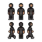 Pixel funny black ninja Royalty Free Stock Photos