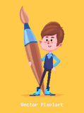 Pixel funny boy.  on yellow background. Vector illustration. Royalty Free Stock Photos