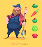 Pixel funny farmer character.  on yellow background. Vector illustration. Stock Photos