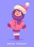Pixel funny girl.  on violet background. Vector illustration. Stock Images