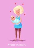 Pixel funny mother character.  vector illustration. Stock Photos
