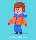 Pixel funnykid.  on blue background. Vector illustration. Royalty Free Stock Photo