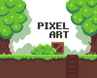 Pixel Game Background. Pixel art background with grass, mud, crate, bush, hole with stairs and trees Royalty Free Stock Image