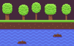 Pixel Game Background. Pixel art seamless game background with grass and mud, many trees, and water Royalty Free Stock Photography