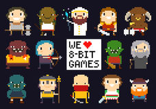 Pixel Game Characters Stock Image