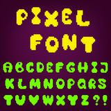 Pixel game font. Vector alphabet - pixel  set of letters for design in computer game's style Royalty Free Stock Photos