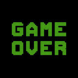 Pixel Game Over Message. Arcade Game Over message display in green squares vector illustration
