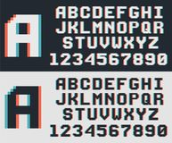 Pixel video game font, retro 8-bit letters and numbers. Pixel game retro font, 8-bit vector alphabet Royalty Free Stock Photos