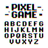Pixel Game retro style font. Pixel Game retro style pixel font with distortion Stock Image