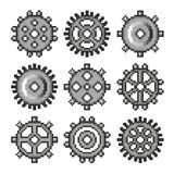 Pixel gears for games icons vector set Royalty Free Stock Image