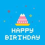 Pixel-Geburtstags-Kuchen Stockbild